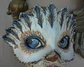 Barn OWL,White and grey, leather mask by Faerywhere