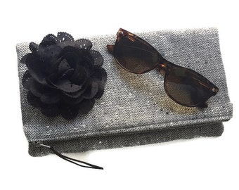 Glimmer Black Foldover Clutch Bag, Black Wool Clutch Handbag, Fold Over Pouch, Black Evening Bag, Zippered Pouch, Wool Clutch Purse Bag