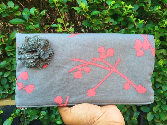 Gray and Coral Floral Foldover Clutch Bag, Grey Clutch Purse, Evening Bag, Clutch Handbag, Zipper Purse, Gray Pouch, Floral Clutch Pouch