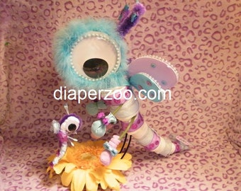 Diaper DRAGONFLY Instructons.  Baby Shower Gift. Diaper Cake Keepsake baby gift - how to make
