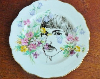 Peeping Tom hand painted vintage bone china bread and butter plate with hanger recycled moustache display SALE