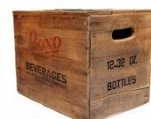 Elevated Vintage Wood Crate Dog Feeder.  No. 1.