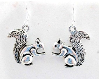 Squirrel Charm Pierced Earrings on 925 Silver Wires - Squirrel Charn Dangle Earrings Jewelry Gift