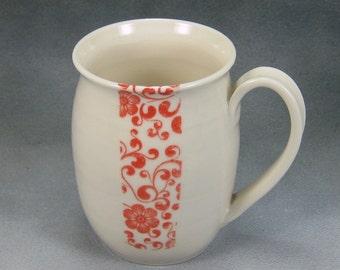 Coffee Mug 14 oz Red and White Porcelain Coffee Cup Ceramic Mug Pottery Coffee Mug Hand Thrown Mug Unique Coffee Mug Pottery 2