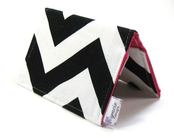 Mini Wallet / Card Holder / Business Card Holder / Card Case / Gift Card Holder/ Small Wallet - Black Chevron Fabric