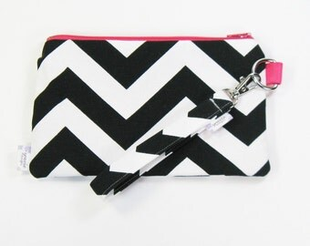 Wrist Purse / Wristlet Clutch / Cell Phone Wristlet - Black and white Chevron