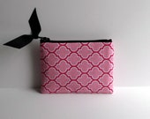 Pink Lattice Print Coin Purse or Business card holder