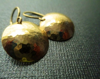 Hammered Brass Domed Earrings (Small)