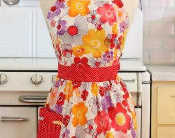 Retro Apron Bright Flowers on White CHLOE