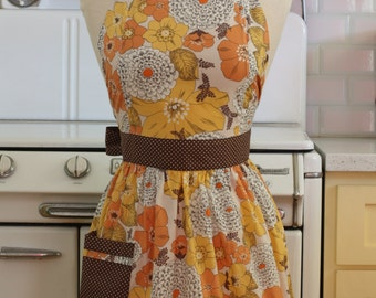 Retro Apron Yellow and Mustard Floral CHLOE
