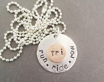 Run Ride Row Triathlon Necklace