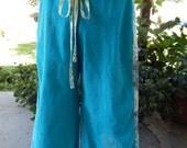 Aqua Corduroy Grateful Dead Stealie & Bolt Hippie Patchwork Wide Leg Pants Festival Pants Pants bell bottoms Hippie Pants up 2 plus size