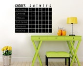 "Chore Chart Chalkboard Wall Decal - Design One - 28"" tall x 36"" wide"