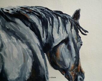 Talk to Me Horse Watercolor Art Original Painting by Equine California Artist debra alouise