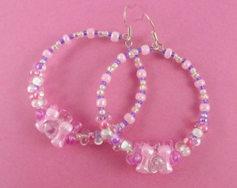 Pink Beaded Hoop Earrings - pretty circle earrings with tri beads, barbell beads & seed beads - pastels white lilac Sweet Lolita Fairy-Kei