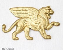 35mm Raw Brass Standing Griffin (2 Pcs) #3751