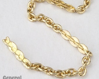 2mm x 1.5mm Bright Gold Petite Cable Chain #CCA096