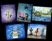 Water Themed Postcard Variety Pack - Featuring 5 paintings by Marcia Furman - Ocean, Sea