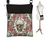 Skull  Small Crossbody Purse, Shoulder Bag, Steampunk Cross Body Bag, Travel Bag Wallet, Zipper Pocket, Fits eReaders Roses Goth Gothic RTS