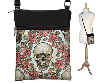 Skull  Small Crossbody Purse, Shoulder Bag, Steampunk Cross Body Bag, Travel Bag Wallet, Zipper Pocket, Fits eReaders Roses Goth Gothic RTS