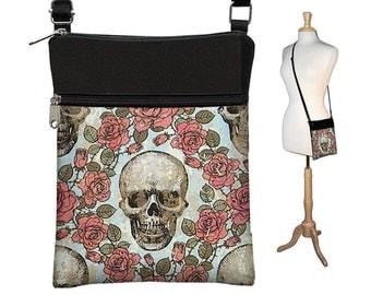 Skull Sling Bag Shoulder Purse Cross Body Bag Small Travel Purse Zipper Fits eReaders Roses Goth Gothic RTS
