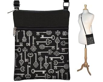 CLEARANCE Small Cross Body Purse Black Crossbody Bag Antique Keys Sling Shoulder Bag Fits eReaders Skeleton Keys white gray grey MTO
