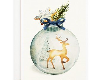 Set of 4 Christmas Ornament with Reindeer cards - Holiday Cards, Xmas Cards