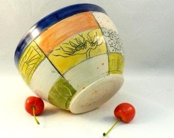 Ice Cream Dish - Ceramic Soup  Bowl  Kitchen Pottery Art Vessel Carved in Patchwork Design, Key Bowl, Ceramic Dish, Cobalt Blue Bowl