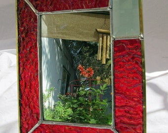 Mirror, 4 x 6 inch, Standing, of Textured Red Stained Glass, with Rectangular Green Beveled Glass in Corner