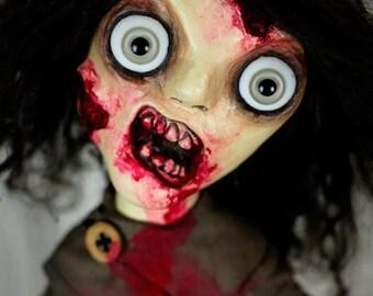 Zombie Doll With Rotting Flesh - Brown Hair Light Yellow Eyes Creepy Doll - Carmin