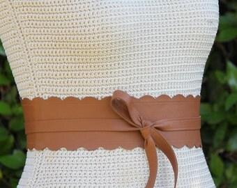 REVERSIBLE Leather Obi Wrap Belt / Sash - Warm Camel Brown • Caramel • Tobacco - XS S M L Petite & Plus Size - double sided scallop edge