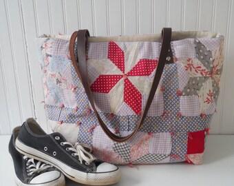Tote Bag Leather Handles Repurposed Vintage Quilt Carry All Tote Weekender Bag