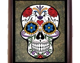 Sugar Skull Cigarette Case Business Card Wallet MP3 Holder Day of the Dead Mexican Dia Los Muertos Goth Gothic Mexico Calavera