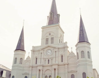 new orleans art, white home decor, jackson square art, st louis cathedral, french quarter, architecture art, new orleans photography