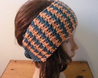 "Teal and Tangerine ""Houndstooth"" Ear Warmer Headband"