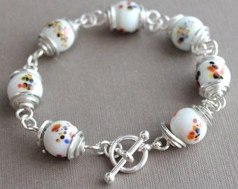 Bracelet: Vintage Speckled Glass Beads - Sterling Silver