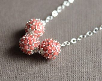Coral & Silver Pavé Bead Necklace - Chain