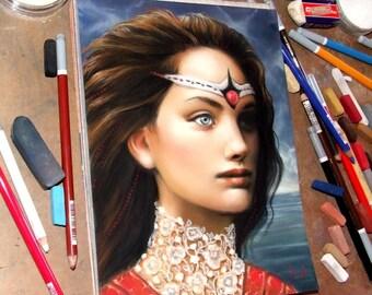 Queenling - art by Tanya Bond - fantasy girl princess portrait woman brunette surreal lace pastel pastelmat panpastels