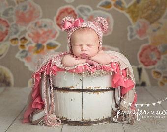 Pink Teddy Bear Bonnet - newborn photograph prop baby girl animal ear hat bow