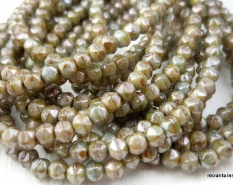 English Cut Beads - 3mm English Cut Nugget Bead Antique Green Picasso Luster - 50 (G - 122)