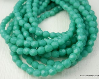 Opaque Turquoise - 3mm Czech Glass Beads - Firepolished Faceted  (G - 26)