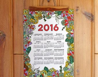 SALE 2016 wall calendar-13 x 19 poster-Succulent edition