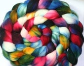 Hand dyed Superwash Merino wool Combed Top-- 6.3 oz.--