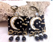 ON SALE Moon and Stars earrings, Hand embossed brass with black and crystal beads. By the Light of the  Moon