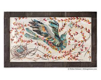 Mockingbird in Vines Paper Collage Art
