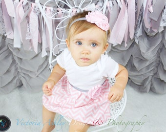 Boutique pink and grey chevron DRESS..one piece dress.. girls clothing..new baby