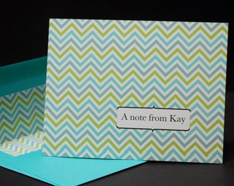 Aqua and Apple Chevron, personalized flat cards, set of 12, social stationery, letter writing set, personal correspondence, flat notes