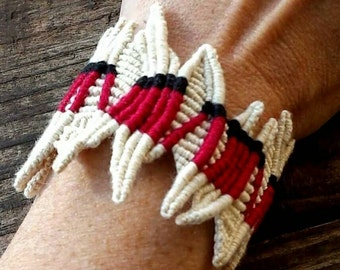 knotted fiber art wrist cuff, red series