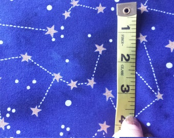 Michael Miller Moons & Stars Constellation Gold Metallic on Blue  1 Yard