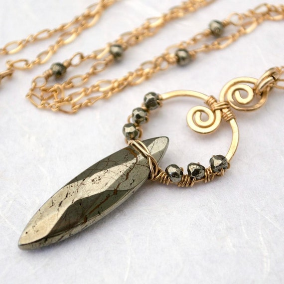 Gold Pyrite Necklace, Talisman Collection, Marquise Gemstone, Wire Wrapped Pendant, Gold Filled Chain, Tribal, Boho Necklace, Adjustable